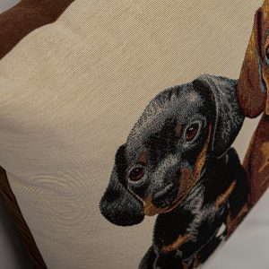 GK Furniture - Cushion, Black & Brown Puppies