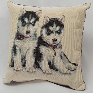 GK Furniture - Cushion, Black & White Puppies