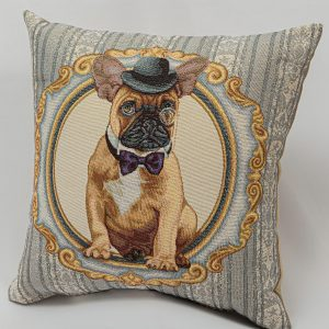 GK Furniture - Cushion, Bulldog with Hat pattern