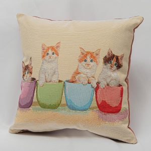 GK Furniture - Cushion, Cats in Cup