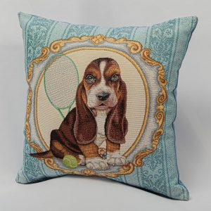 GK Furniture - Cushion, Dog with Tennis Racket