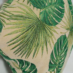 GK Furniture - Cushion, Green Leaves