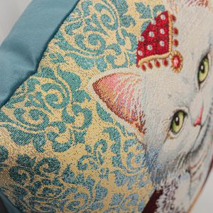 GK Furniture - Cushion, White Royal Cat